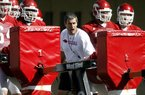 UA Spring Football Practice assistant coach Chris Klenakis (offensive line)