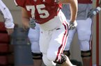 Matt Hall, shown in this 2009 photo at spring practice, will be starting at right guard for Ole Miss. Hall played at Arkansas in 2008-2009 before transferring.