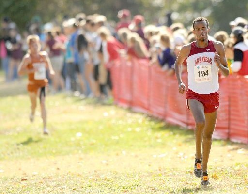 NWA Media/ANDY SHUPE -- Arkansas junior Solomon Haile (194) nears the finish Friday, Nov. 9, 2012, during the NCAA South Central Regional meet at the UA's Agri Park in Fayetteville.