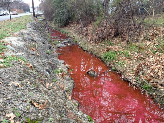 the-water-in-plateau-ditch-is-red-due-to-a-leak-the-city-of-little-rock-said-in-a-news-release-the-color-was-caused-by-a-dye-added-to-the-uams-hot-water-circulation-system-and-is-not-toxic-or-harmful-this-photo-was-taken-at-plateau-and-oak-streets