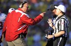 New Arkansas Coach Bret Bielema, shown arguing with an official during last season's Rose Bowl while the coach at Wisconsin, showed a feisty streak during his high school playing days that has carried over into his coaching career.