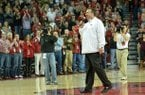 NWA Media/MICHAEL WOODS --02/02/2013-- University of Arkansas football coach Bret Bielema addresses the Razorbacks basketball fans during a time out in the first half of Saturday afternoon's game against Tennessee at Bud Walton Arena in Fayetteville.