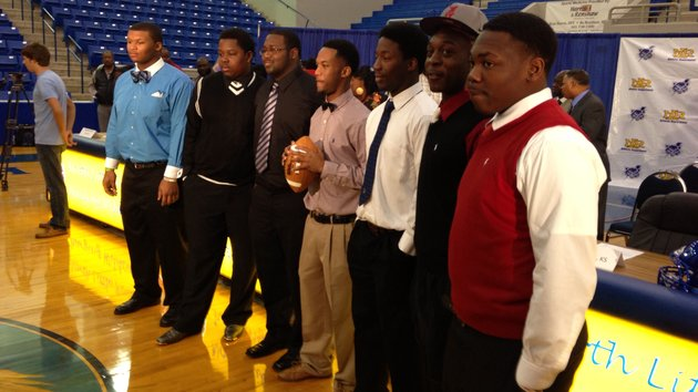 seven-players-signed-with-colleges-at-north-little-rock-high-school-on-wednesday-along-with-altee-tenpenny-signing-with-alabama-gary-vines-kaylon-daniels-and-rodney-bryson-signed-with-henderson-state-and-gerald-watson-signed-with-ouachita-baptist-javian-williams-and-kenny-howard-signed-with-coffeyville-kan-community-college