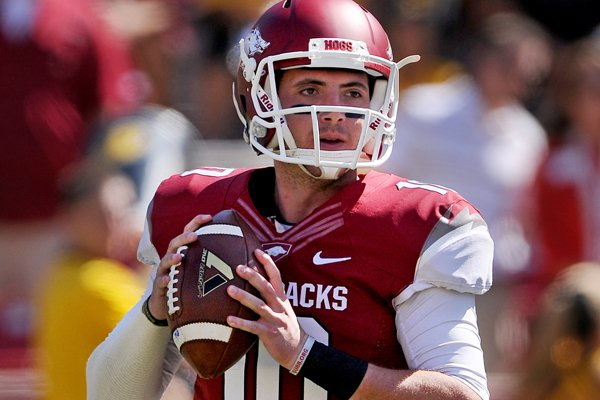 Arkansas quarterback Brandon Allen looks for a receiver during the first quarter of the game against Southern Miss on Saturday September 14, 2013 at Razorback Stadium in Fayetteville.