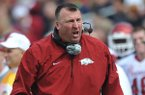 Arkansas coach Bret Bielema reacts to a play during an NCAA college football game against Mississippi at Vaught-Hemingway Stadium Saturday, Nov. 9, 2013, in Oxford, Miss. (AP Photo/Oxford Eagle, Bruce Newman)