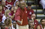 Arkansas head coach Mike Anderson gestures while giving instructions to his team in the first half of an NCAA college basketball game against California at the Maui Invitational basketball tournament on Monday, Nov. 25, 2013, in Lahaina, Hawaii. (AP Photo/Eugene Tanner)