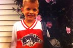 Rafe Peavey sporting a Razorback shirt on the first day of kindergarten while in Rhode Island.