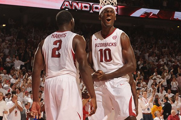 arkansas-forward-alandise-harris-left-celebrates-with-forward-bobby-portis-10-after-harris-scored-a-basket-in-the-closing-moments-of-the-second-half-of-play-tuesday-jan-14-2014-in-bud-walton-arena-in-fayetteville