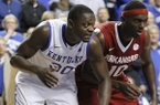 Kentucky's Julius Randle (30) during the second half of an NCAA college basketball game against Arkansas, Thursday, Feb. 27, 2014, in Lexington, Ky. Arkansas won 71-67. (AP Photo/James Crisp)