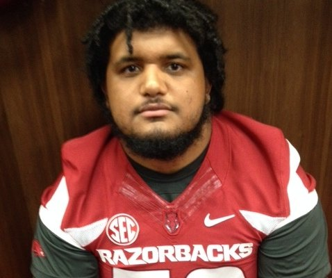 Offensive lineman Sebastian Tretola brings a mean streak to the Hogs.
