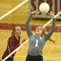 Rogers' Madison Sherrill (1) sets the ball Tuesday against Springdale High School in Springdale.