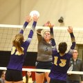 Shiloh Christian's Olivia Barnes (5) tries to knock the ball past Berryville's Jeanessa Smith (32) a...