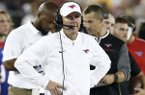 SMU coach Chad Morris directs the Mustangs against Central Florida during the first half of an NCAA college football game, Saturday, Nov. 4, 2017, in Dallas (AP Photo/Mike Stone)