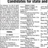 Candidates for State and Federal offices