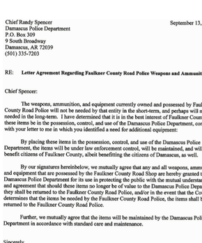 Letter Agreement Of Police Weapons Ammunition
