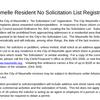 Maumelle's no-solicitation list registration form