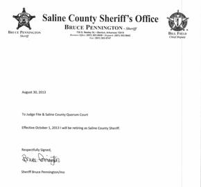 sheriff bruce pennington retirement letter letter of retirement