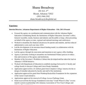 Shane Broadway Resume Nwaonline