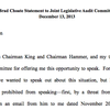 Brad Choate's prepared statement for Dec. 13, 2013