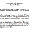 John Diamond's prepared statement for Jan. 7, 2014