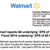 Wal-Mart earnings report, Q4 2014
