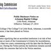 Public disclosure notice on Arkansas Baptist College