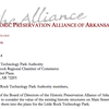 McKuin's letter to Little Rock Technology Park Authority Board