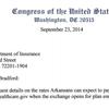Arkansas representatives' letter to insurance commissioner