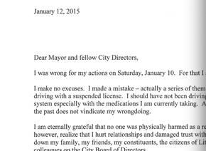 City Director Ken Richardson apology letter