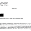Chris Beard letter of appointment