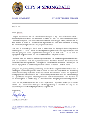 Springdale police chief kathy okelley retirement letter the springdale police chief kathy okelley retirement letter thecheapjerseys Gallery