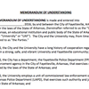 Draft document of agreement between UA, Fayetteville