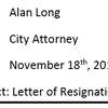Alan Long resignation