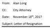 Alan Long resignation