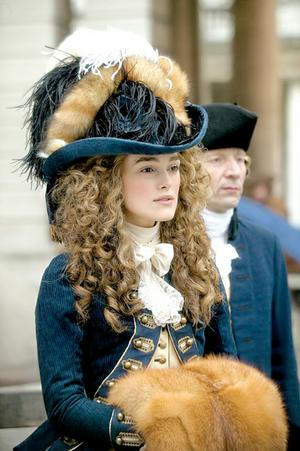 Georgiana (Keira Knightley) is known for her fashion sense and political activism in The Duchess.