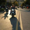 Bikers ride up and down Dickson Street on Friday evening in Fayetteville during the annual biker fes...