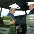 Warren Jones, executive director of the Fayetteville Air Museum, left, and Hugh Brewer, president of...