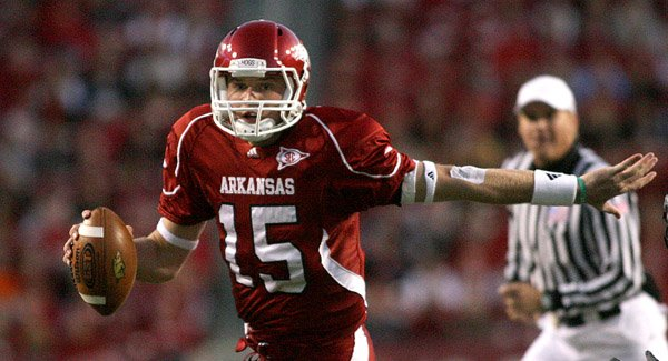 Arkansas quarterback Ryan Mallett runs against Eastern Michigan.