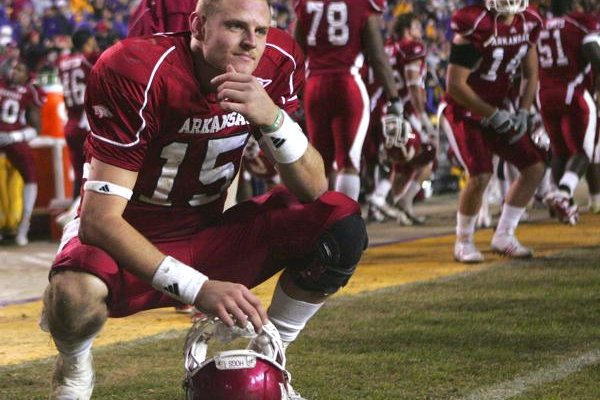 Arkansas quarterback Ryan Mallett reacts on the sidelines after the Razorbacks' 33-30 loss to LSU in overtime on Saturday.
