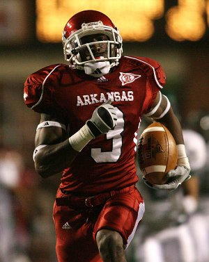 Arkansas' Joe Adams runs after the catch for a touchdown against Eastern Michigan Saturday, October 31, 2009 at Reynolds Razorback Stadium in Fayetteville.