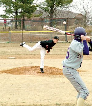 Batter up! - Baseball season has begun as the first game of the season for the Pea Ridge Blackhawks commenced at 4 p.m. Monday at the baseball field at Blackjack Corner. Brandon Easterling pitched to a Berryville player early in the game. The 'Hawks won 11/1.