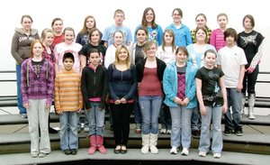 Pea Ridge Middle School choir members pictured top from left: Heather Ray, Molly Sorrell, Kendra Foster, Nathan Merritt, Ivy Burnett, Montana Keller, Tonya Bradshaw, Mikayla Woodard and Jessica McCool; middle from left: Jessica Manuel, Stephanie Wood, Kaylee Laster, Hannah Eoff, Savannah Davis, Shirah Wright, Cortney Evans and Nikolas Boettcher; and front from left: Nikki Lusk, Hector Contreras, Autumn Stowe, Autumn Law, Cheyanne Wilson, Grace Blackman and Stormy Johnson.