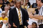 Missouri head coach Mike Anderson, left, argues a kicked ball call during the first half of their college basketball game with North Carolina A&T, Monday, Dec. 17, 2007, in Columbia, Mo.