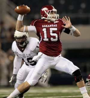 Arkansas quarterback Ryan Mallett throws during the second quarter of the Razorbacks' Oct. 3 game against Texas A&M in Cowboys Stadium in Dallas.
