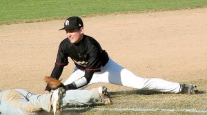 Brandon Easterling, senior Blackhawk, tagged a Prairie Grove baserunner at third base in a home game Monday evening.