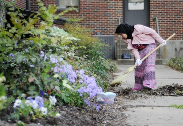 Salma Nazarkhan cleans up a ...