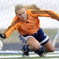Rogers Heritage goal keeper Ashley Schimmel dives to stop a Mount St. Mary penalty kick Friday durin...
