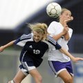 Rogers Heritage's Ellen Lundy, left, heads the ball in front of Mount St. Mary's Holly Holland durin...
