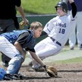 Sylvan Hills' Lance Hunter, left, waits on the late throw as Fayetteville's Austin Allen slides in s...