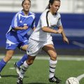 Bentonville's Nicole Rouse drives the ball past Rogers High's Ibett Cordona in Mountie Stadium in Ro...